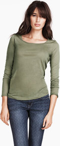 Top - neckline: round neck; pattern: plain; predominant colour: khaki; occasions: casual, work; length: standard; style: top; fibres: cotton - mix; fit: tailored/fitted; sleeve length: long sleeve; sleeve style: standard; pattern type: fabric; pattern size: standard; texture group: jersey - stretchy/drapey