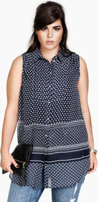 + Blouse - neckline: shirt collar/peter pan/zip with opening; sleeve style: sleeveless; length: below the bottom; style: blouse; predominant colour: navy; occasions: casual, work; fibres: polyester/polyamide - 100%; fit: loose; sleeve length: sleeveless; texture group: sheer fabrics/chiffon/organza etc.; pattern type: fabric; pattern size: small & busy; pattern: patterned/print