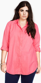 + Shirt - neckline: shirt collar/peter pan/zip with opening; pattern: plain; length: below the bottom; style: shirt; bust detail: buttons at bust (in middle at breastbone)/zip detail at bust; predominant colour: pink; occasions: casual; fibres: cotton - 100%; fit: loose; hip detail: dip hem; shoulder detail: discreet epaulette, flat/draping pleats/ruching/gathering at shoulder; back detail: longer hem at back than at front; sleeve length: long sleeve; sleeve style: standard; texture group: cotton feel fabrics; trends: volume; pattern type: fabric; pattern size: standard