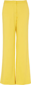 **Yellow Trousers Unique - length: standard; pattern: plain; waist detail: fitted waist, narrow waistband; pocket detail: pockets at the sides; waist: mid/regular rise; predominant colour: yellow; occasions: casual, evening, work, occasion; fibres: polyester/polyamide - stretch; hip detail: fitted at hip (bottoms); texture group: silky - light; fit: wide leg; pattern type: fabric; pattern size: standard; style: standard