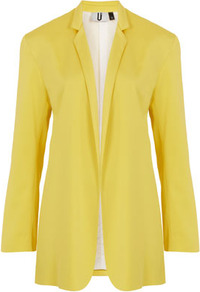 **Yellow Blazer Unique - pattern: plain; style: single breasted blazer; length: below the bottom; hip detail: front pockets at hip; collar: standard lapel/rever collar; predominant colour: yellow; occasions: casual, evening, work, occasion; fit: tailored/fitted; fibres: polyester/polyamide - stretch; sleeve length: long sleeve; sleeve style: standard; texture group: cotton feel fabrics; trends: tuxedo; collar break: low/open; pattern type: fabric; pattern size: standard