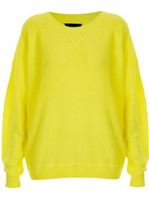 Knitted Mix Stitch Sweater - neckline: round neck; sleeve style: dolman/batwing; style: standard; hip detail: fitted at hip; predominant colour: yellow; occasions: casual; length: standard; fibres: acrylic - 100%; fit: loose; sleeve length: long sleeve; texture group: knits/crochet; trends: fluorescent; pattern type: knitted - other; pattern size: standard
