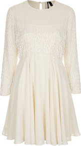 Beaded Fringe Flippy Dress - length: mid thigh; neckline: round neck; bust detail: added detail/embellishment at bust, ruching/gathering/draping/layers/pintuck pleats at bust; waist detail: fitted waist, embellishment at waist/feature waistband; shoulder detail: contrast pattern/fabric at shoulder; predominant colour: ivory; occasions: evening, work, occasion; fit: fitted at waist &amp; bust; style: fit &amp; flare; fibres: polyester/polyamide - 100%; hip detail: structured pleats at hip, soft pleats at hip/draping at hip/flared at hip; back detail: keyhole/peephole detail at back; sleeve length: long sleeve; sleeve style: standard; texture group: sheer fabrics/chiffon/organza etc.; trends: volume; pattern type: fabric; pattern size: standard; embellishment: beading