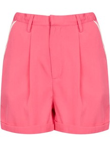 Contrast Heart Pocket Shorts - pattern: plain; style: shorts; waist detail: fitted waist, narrow waistband; pocket detail: large back pockets, small back pockets, pockets at the sides; length: short shorts; waist: mid/regular rise; predominant colour: pink; occasions: casual, evening, holiday; fibres: polyester/polyamide - 100%; hip detail: front pleats at hip level, fitted at hip (bottoms); jeans &amp; bottoms detail: turn ups; texture group: crepes; fit: straight leg; pattern type: fabric; pattern size: standard