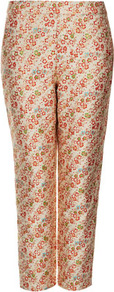 Ditsy Floral Jacquard Trousers - waist detail: fitted waist, narrow waistband; pocket detail: small back pockets, pockets at the sides; waist: mid/regular rise; predominant colour: gold; occasions: casual, evening, occasion; length: ankle length; fibres: polyester/polyamide - mix; hip detail: fitted at hip (bottoms); texture group: ornate wovens; trends: high impact florals, metallics; fit: straight leg; pattern type: fabric; pattern size: small & busy; pattern: florals, patterned/print; style: standard