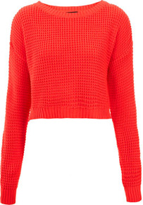 Knitted Textured Stitch Crop Jumper - neckline: round neck; length: cropped; style: standard; predominant colour: bright orange; occasions: casual; fibres: acrylic - 100%; fit: standard fit; sleeve length: long sleeve; sleeve style: standard; texture group: knits/crochet; trends: fluorescent; pattern type: knitted - other; pattern size: standard