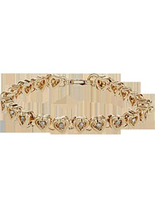 Ditsy Heart Bracelet - predominant colour: gold; occasions: casual, evening, work, occasion; style: chain; size: small; material: chain/metal; finish: metallic; embellishment: chain/metal, crystals