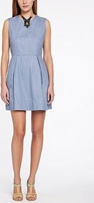 Fleeting Chambray Tunic - length: mid thigh; fit: tailored/fitted; pattern: plain; sleeve style: sleeveless; waist detail: fitted waist; predominant colour: denim; occasions: casual, occasion, holiday; style: fit & flare; fibres: cotton - 100%; neckline: crew; hip detail: structured pleats at hip, soft pleats at hip/draping at hip/flared at hip; sleeve length: sleeveless; texture group: cotton feel fabrics; pattern type: fabric