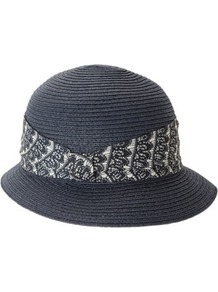 Navy Summer Cloche Hat - predominant colour: navy; occasions: casual, holiday; type of pattern: light; style: cloche; size: standard; material: macrame/raffia/straw; embellishment: ribbon; pattern: plain, patterned/print