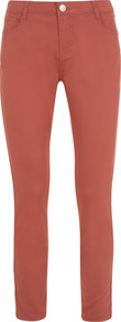 Coral Cropped Jeans - style: skinny leg; pattern: plain; pocket detail: traditional 5 pocket; waist: mid/regular rise; predominant colour: terracotta; occasions: casual; length: calf length; fibres: cotton - stretch; jeans detail: dark wash; texture group: denim; pattern type: fabric