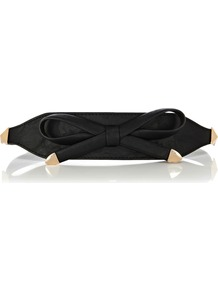 Bow &amp;Amp; Stud Waist Belt - predominant colour: black; occasions: casual, evening, work; type of pattern: standard; style: classic; size: wide; worn on: waist; material: faux leather; embellishment: studs, bow, chain/metal; pattern: plain; finish: plain