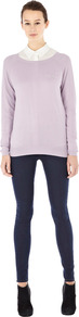 Textured Crew Jumper - neckline: round neck; pattern: plain; length: below the bottom; bust detail: pocket detail at bust; style: standard; predominant colour: lilac; occasions: casual, work; fibres: acrylic - mix; fit: standard fit; sleeve length: long sleeve; sleeve style: standard; texture group: knits/crochet; pattern type: knitted - fine stitch; pattern size: standard