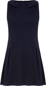 Navy Peter Pan Collar Dress - length: mid thigh; pattern: plain; sleeve style: sleeveless; waist detail: fitted waist; predominant colour: navy; occasions: casual, evening; fit: fitted at waist & bust; style: fit & flare; fibres: polyester/polyamide - stretch; neckline: no opening/shirt collar/peter pan; hip detail: structured pleats at hip, soft pleats at hip/draping at hip/flared at hip; sleeve length: sleeveless; trends: volume; pattern type: fabric; texture group: jersey - stretchy/drapey