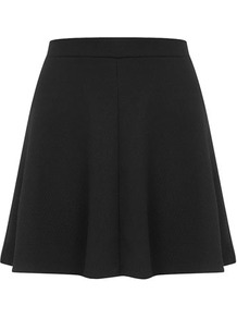 Petite Waffle Skater Skirt - length: mid thigh; pattern: plain; fit: loose/voluminous; style: pleated; waist detail: elasticated waist, fitted waist; waist: high rise; predominant colour: black; occasions: casual, evening, work; fibres: polyester/polyamide - 100%; hip detail: structured pleats at hip, soft pleats at hip/draping at hip/flared at hip; trends: volume; pattern type: fabric; texture group: jersey - stretchy/drapey