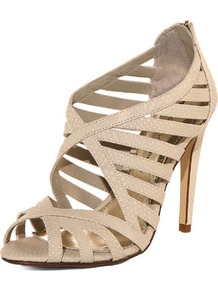 Cream Cross Strap Sandal - predominant colour: stone; occasions: evening, occasion; material: faux leather; heel height: high; heel: stiletto; toe: open toe/peeptoe; style: strappy; finish: plain; pattern: plain