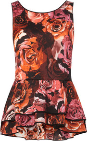 Rose Print Frill Hem Top - neckline: round neck; sleeve style: sleeveless; waist detail: fitted waist, peplum waist detail; back detail: low cut/open back, longer hem at back than at front; occasions: casual, evening, work; length: standard; style: top; fibres: polyester/polyamide - 100%; fit: tailored/fitted; hip detail: soft pleats at hip/draping at hip/flared at hip, ruffles/tiers/tie detail at hip; predominant colour: multicoloured; sleeve length: sleeveless; texture group: sheer fabrics/chiffon/organza etc.; trends: high impact florals, sculptural frills; pattern type: fabric; pattern size: big &amp; busy; pattern: florals, patterned/print