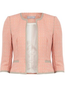 Petite Coral Tweed Jacket - style: cropped; collar: round collar/collarless; length: cropped; pattern: herringbone/tweed, patterned/print; predominant colour: coral; occasions: casual, evening, work, occasion; fit: tailored/fitted; fibres: polyester/polyamide - mix; sleeve length: 3/4 length; sleeve style: standard; collar break: low/open; pattern type: fabric; pattern size: small &amp; light; texture group: tweed - light/midweight