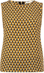 Mustard Geo Print Trim Top - sleeve style: sleeveless; predominant colour: mustard; occasions: casual, evening, work, holiday; length: standard; style: top; fibres: polyester/polyamide - 100%; fit: straight cut; neckline: crew; back detail: embellishment at back; sleeve length: sleeveless; texture group: crepes; trends: modern geometrics; pattern type: fabric; pattern size: small &amp; busy; pattern: patterned/print