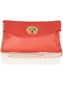 Coral Snake Clutch - predominant colour: coral; occasions: casual, evening, occasion, holiday; type of pattern: light; style: clutch; length: hand carry; size: small; material: faux leather; pattern: animal print, plain; trends: fluorescent; finish: plain; embellishment: chain/metal