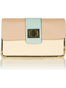 Colourblock Clutch Bag - predominant colour: nude; occasions: evening, occasion; style: clutch; length: hand carry; size: small; material: faux leather; pattern: plain, colourblock; trends: sporty redux; finish: plain