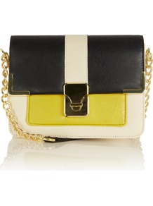 City Chain Cross Body Bag - occasions: casual, evening, work; predominant colour: multicoloured; type of pattern: large; style: shoulder; length: across body/long; size: small; material: faux leather; trends: fluorescent; finish: plain; pattern: vertical stripes, colourblock; embellishment: chain/metal