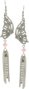 Butterfly Wing Drop Earrings - predominant colour: silver; occasions: evening, occasion; style: drop; length: long; size: large/oversized; material: chain/metal; fastening: pierced; finish: metallic; embellishment: beading, chain/metal, crystals