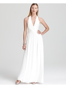 Halter Gown Banded Bodice - pattern: plain; sleeve style: sleeveless; style: maxi dress; waist detail: fitted waist, twist front waist detail/nipped in at waist on one side/soft pleats/draping/ruching/gathering waist detail; neckline: halter neck; back detail: low cut/open back; predominant colour: white; occasions: evening, occasion; length: floor length; fit: fitted at waist & bust; fibres: polyester/polyamide - stretch; hip detail: soft pleats at hip/draping at hip/flared at hip; sleeve length: sleeveless; pattern type: fabric; texture group: jersey - stretchy/drapey
