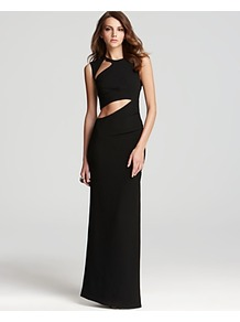 Gown Sleeveless Cutout - pattern: plain; sleeve style: sleeveless; style: maxi dress; waist detail: fitted waist, cut out detail; back detail: low cut/open back, keyhole/peephole detail at back; hip detail: fitted at hip; predominant colour: black; occasions: evening, occasion; length: floor length; fit: body skimming; fibres: polyester/polyamide - 100%; neckline: crew; shoulder detail: asymmetric shoulder detail/one shoulder, cut out shoulder; sleeve length: sleeveless; pattern type: fabric; pattern size: standard; texture group: other - light to midweight
