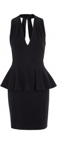 Herringbone Peplum Dress - style: shift; length: mini; fit: tailored/fitted; pattern: plain, herringbone/tweed; sleeve style: sleeveless; waist detail: fitted waist, peplum waist detail; neckline: halter neck; back detail: low cut/open back; hip detail: fitted at hip; predominant colour: black; occasions: evening, occasion; fibres: cotton - mix; sleeve length: sleeveless; trends: volume; pattern type: fabric; pattern size: standard; texture group: jersey - stretchy/drapey