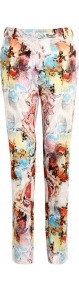 Watercolour Artist Print Cotton Trousers - length: standard; pocket detail: small back pockets, pockets at the sides; waist: mid/regular rise; occasions: casual, evening, work; fibres: cotton - 100%; waist detail: narrow waistband; predominant colour: multicoloured; texture group: cotton feel fabrics; trends: statement prints; fit: straight leg; pattern type: fabric; pattern size: big & busy; pattern: patterned/print; style: standard