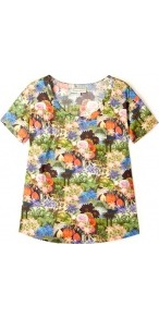 Desfeuits Tropical Print T Shirt - neckline: round neck; style: t-shirt; occasions: casual, work; length: standard; fibres: cotton - 100%; fit: straight cut; predominant colour: multicoloured; sleeve length: short sleeve; sleeve style: standard; trends: statement prints; pattern type: fabric; pattern size: big &amp; busy; pattern: florals, patterned/print; texture group: jersey - stretchy/drapey