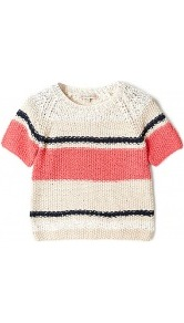 Bemol Crochet Knitted Short Sleeve Jumper Paul &amp; Joe Sist - neckline: round neck; pattern: horizontal stripes; length: cropped; style: square cut; predominant colour: stone; occasions: casual, work; fibres: cotton - mix; fit: standard fit; sleeve length: short sleeve; sleeve style: standard; texture group: knits/crochet; pattern type: knitted - other; pattern size: standard
