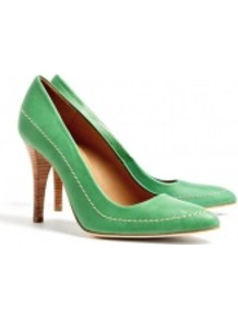 Green Stitched Pointy Pump - predominant colour: emerald green; occasions: casual, evening, work, occasion; material: leather; heel height: high; embellishment: embroidered; heel: stiletto; toe: pointed toe; style: courts; finish: plain; pattern: plain