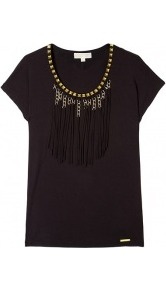 Gold Chain Fringe Trim Wedge Top - neckline: round neck; sleeve style: capped; bust detail: added detail/embellishment at bust; style: t-shirt; predominant colour: black; occasions: casual, evening, work; length: standard; fibres: polyester/polyamide - stretch; fit: straight cut; sleeve length: short sleeve; pattern type: fabric; texture group: jersey - stretchy/drapey; embellishment: fringing