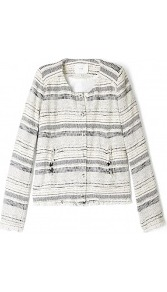 Lizzie Woven Jacket - pattern: horizontal stripes, striped, herringbone/tweed; collar: round collar/collarless; style: boxy; predominant colour: ivory; occasions: casual, evening, work; length: standard; fit: straight cut (boxy); fibres: cotton - mix; sleeve length: long sleeve; sleeve style: standard; collar break: high; pattern type: fabric; pattern size: standard; texture group: tweed - light/midweight