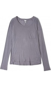 Shadow Grey Very Light Scoop Neck Long Sleeve Jersey Top - neckline: round neck; pattern: plain; style: t-shirt; bust detail: pocket detail at bust; predominant colour: charcoal; occasions: casual, work; length: standard; fibres: cotton - mix; fit: loose; sleeve length: long sleeve; sleeve style: standard; pattern type: fabric; pattern size: standard; texture group: jersey - stretchy/drapey