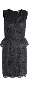 Metallic Floral Lace V Neck Dress - style: shift; neckline: v-neck; fit: tailored/fitted; sleeve style: sleeveless; waist detail: fitted waist, peplum waist detail; predominant colour: black; occasions: evening, occasion; length: just above the knee; fibres: nylon - mix; sleeve length: sleeveless; texture group: lace; trends: glamorous day shifts, metallics; hip detail: ruffles/tiers/tie detail at hip; pattern type: fabric; pattern size: standard; embellishment: embroidered