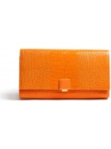 Stamped Leather Travel Clutch - predominant colour: bright orange; occasions: casual, evening, occasion; type of pattern: light; style: clutch; length: hand carry; size: small; material: leather; pattern: animal print, plain; trends: fluorescent; finish: patent; embellishment: chain/metal