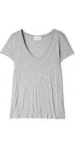 Jacksonville V Neck Tee - neckline: low v-neck; pattern: plain; style: t-shirt; predominant colour: light grey; occasions: casual; length: standard; fibres: cotton - mix; fit: loose; sleeve length: short sleeve; sleeve style: standard; pattern type: fabric; texture group: jersey - stretchy/drapey