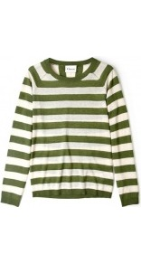 Pesto And Cream Stripe Knit Jumper - neckline: round neck; pattern: horizontal stripes; style: standard; predominant colour: dark green; occasions: casual, work; length: standard; fibres: wool - mix; fit: standard fit; sleeve length: long sleeve; sleeve style: standard; texture group: knits/crochet; trends: striking stripes; pattern type: knitted - other; pattern size: standard