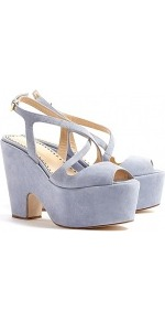 Suede Platform Sandals - predominant colour: pale blue; occasions: casual, evening, holiday; material: suede; heel height: high; embellishment: buckles; ankle detail: ankle strap; heel: platform; toe: open toe/peeptoe; style: strappy; finish: plain; pattern: plain