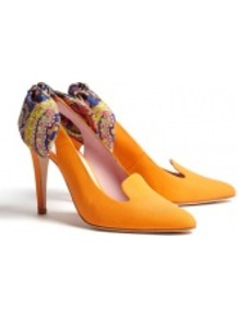 Printed Bow Back Leather Slingback Heels - predominant colour: mustard; occasions: casual, evening, work, occasion; material: leather; heel height: high; ankle detail: ankle tie; heel: stiletto; toe: pointed toe; style: slingbacks; trends: statement prints; finish: plain; pattern: paisley, patterned/print, plain; embellishment: bow