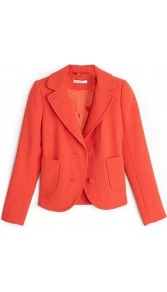 Double Crepe Jacket - pattern: plain; style: single breasted blazer; hip detail: side pockets at hip; collar: standard lapel/rever collar; predominant colour: bright orange; occasions: casual, work, occasion; length: standard; fit: tailored/fitted; fibres: wool - mix; sleeve length: long sleeve; sleeve style: standard; texture group: crepes; collar break: medium; pattern type: fabric