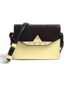 Exclusive Dream Engraved Bag - predominant colour: primrose yellow; occasions: casual, evening, work, occasion; type of pattern: standard; style: shoulder; length: shoulder (tucks under arm); size: small; material: leather; pattern: plain, colourblock; trends: metallics; finish: plain; embellishment: buckles, chain/metal