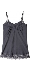 Iron Grey Day Vidar Lace Camisole - neckline: v-neck; sleeve style: spaghetti straps; style: camisole; bust detail: ruching/gathering/draping/layers/pintuck pleats at bust, contrast pattern/fabric/detail at bust; predominant colour: charcoal; occasions: casual, evening, holiday; length: standard; fibres: silk - mix; fit: straight cut; sleeve length: sleeveless; texture group: silky - light; pattern type: fabric; pattern size: small &amp; light; embellishment: embroidered
