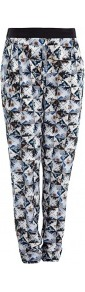 Folded Floral Print Silk Trouser - length: standard; waist detail: elasticated waist; style: peg leg; waist: high rise; pocket detail: pockets at the sides; predominant colour: black; occasions: casual, evening, work; fibres: silk - 100%; texture group: silky - light; trends: statement prints; fit: tapered; pattern type: fabric; pattern size: small & busy; pattern: patterned/print