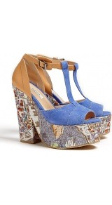 Paris Map Print Platform T Bar Sandals - predominant colour: denim; occasions: casual, evening, holiday; material: fabric; heel height: high; embellishment: buckles; ankle detail: ankle strap; heel: platform; toe: open toe/peeptoe; style: standard; trends: statement prints; finish: plain; pattern: patterned/print, colourblock