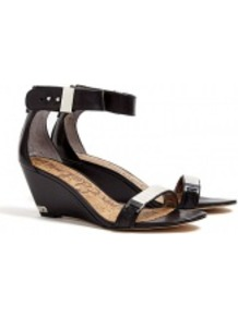 Black Serena Wedge Sandals - predominant colour: black; occasions: casual, evening, occasion, holiday; material: leather; heel height: mid; embellishment: buckles, chain/metal; ankle detail: ankle strap; heel: wedge; toe: open toe/peeptoe; style: standard; finish: plain; pattern: plain