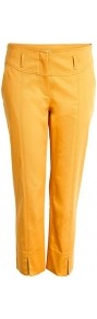 Stretch Cotton Cropped Capri Trousers Philosophy Di Alber - pattern: plain; style: capri; pocket detail: small back pockets; waist: mid/regular rise; predominant colour: mustard; occasions: casual, work, holiday; length: calf length; fibres: cotton - stretch; fit: slim leg; pattern type: fabric