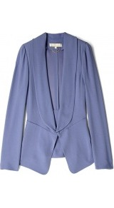 Lavendar Crepe Satin Easy Jacket - pattern: plain; style: single breasted blazer; collar: standard lapel/rever collar; predominant colour: lilac; occasions: casual, evening, work, occasion; length: standard; fit: tailored/fitted; fibres: polyester/polyamide - 100%; waist detail: fitted waist; sleeve length: long sleeve; sleeve style: standard; texture group: structured shiny - satin/tafetta/silk etc.; trends: volume; collar break: low/open; pattern type: fabric; pattern size: standard